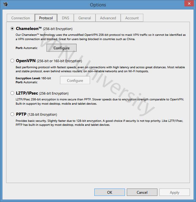 VyprVPN VPN protocols and settings