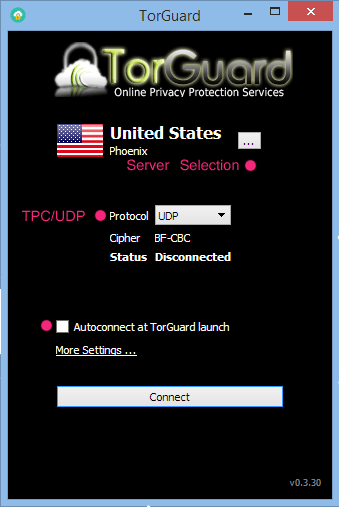 Torguard Software main View