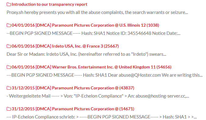 Proxy.sh transparency report