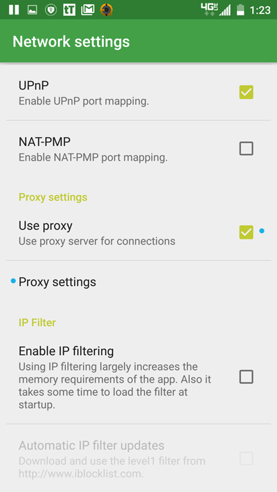 tTorrent Network Settings/Proxy Settings