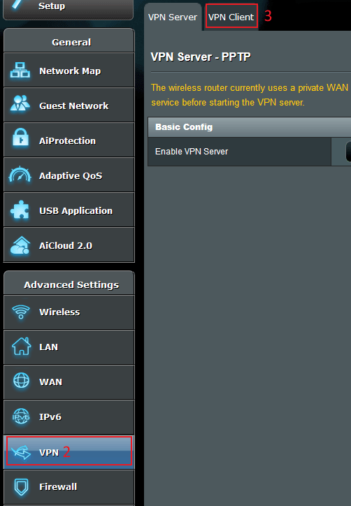 Go to ASUSWRT VPN Settings