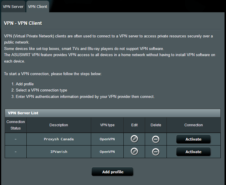 Asus VPN Client settings