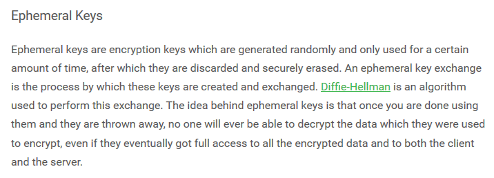 PIA ephemeral keys and PFS