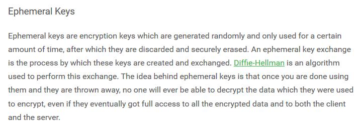 PIA ephemeral keys and PFS