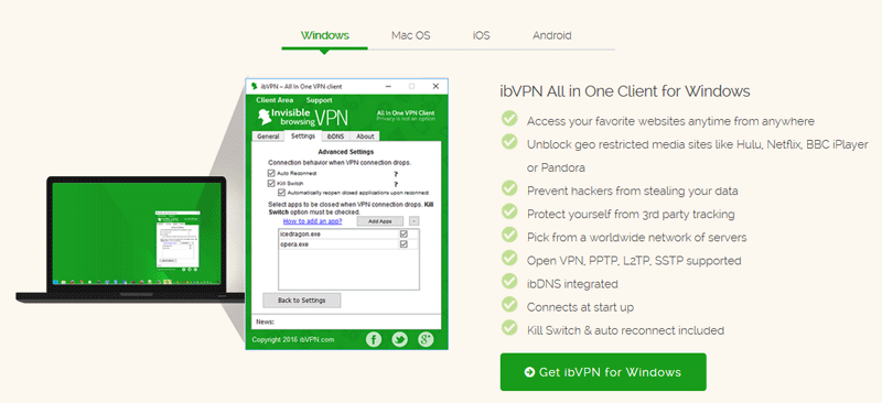 ibvpn Windows app features