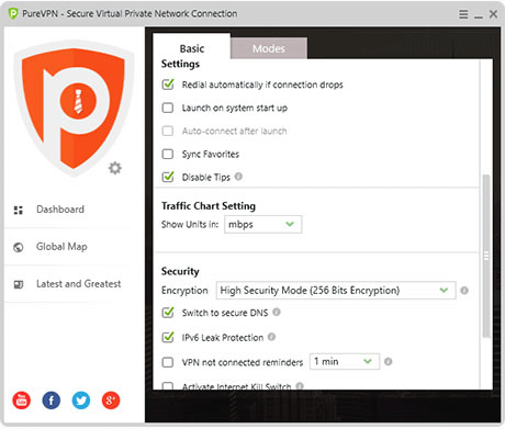 PureVPN Security settings