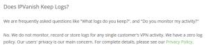 IPVanish zero log policy (from FAQ)