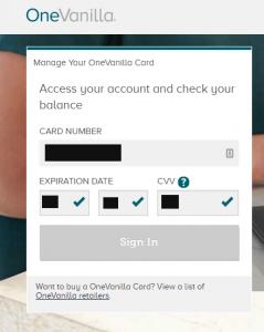 OneVanilla prepaid Visa login