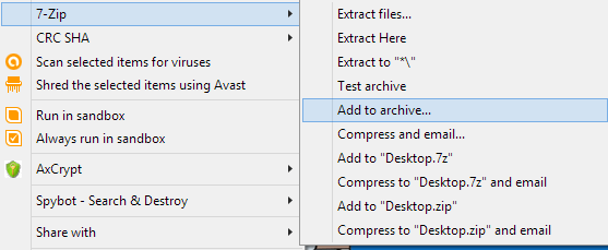 Choose An Archive Type Zip Or 7z Recommended You Can Also Check The Box Create Sfx To Make It A Self Extracting Exe File