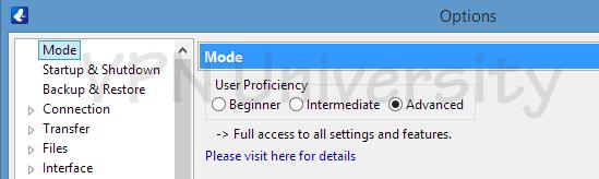 Vuze user mode settings menu (advanced)