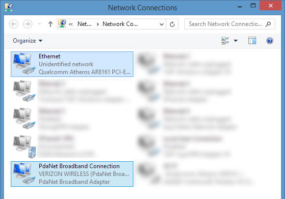 Network connections tethered USB
