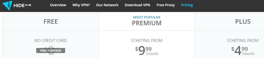 Hideme free VPN option