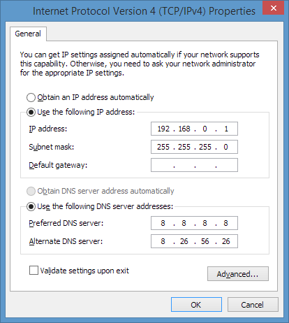 TCP/IPv4 adapter settings