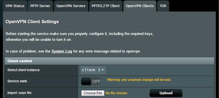 OpenVPN Client settings