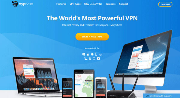 Screenshot of VyprVPN's website