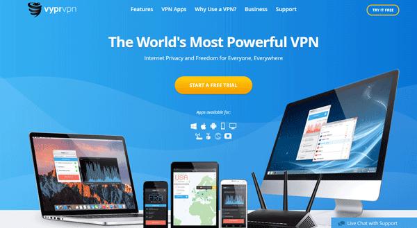 Screenshot of VyprVPN's website