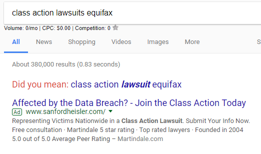 Equifax class action advertising