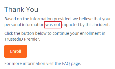 Your personal information was not affected by the breach