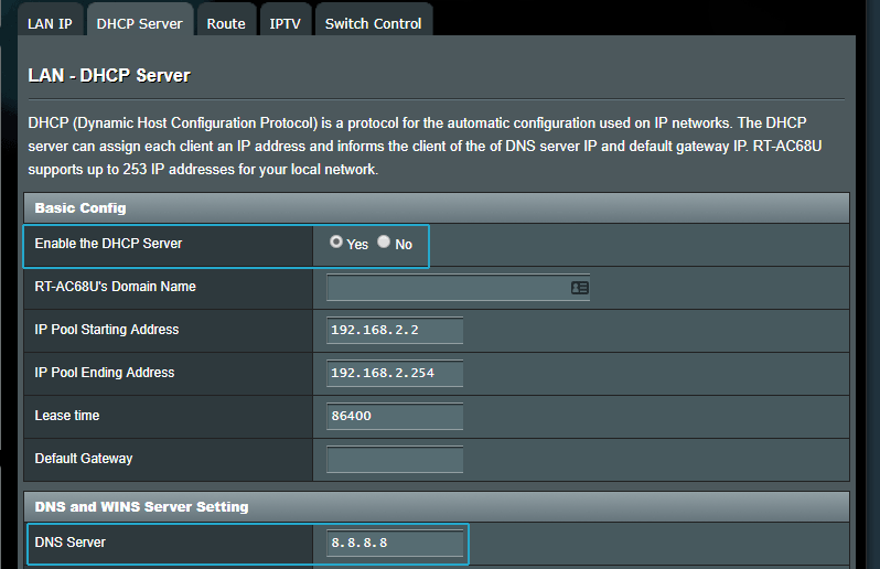 ASUSWRT DNS Servers