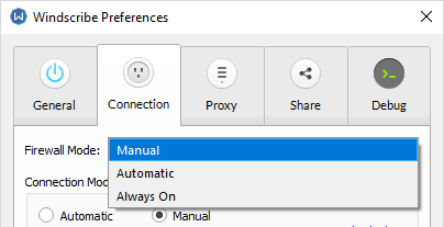 Windscribe Firewall settings