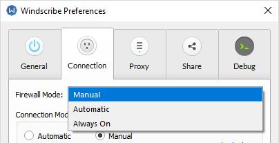 Windscribe Firewall settings