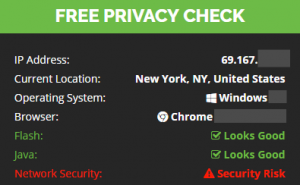 IP and location check (no vpn)