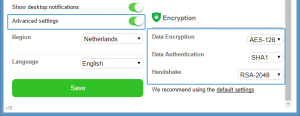 Private Internet Access encryption settings