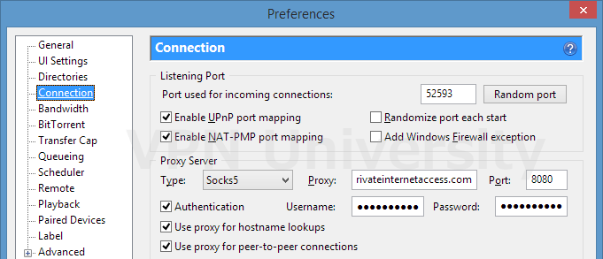 Proxy settings for PIA (Bittorrent)
