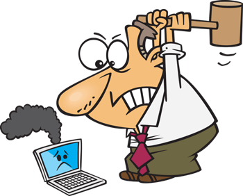 Cartoon man smashing computer