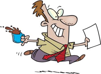 Cartoon of guy running fast