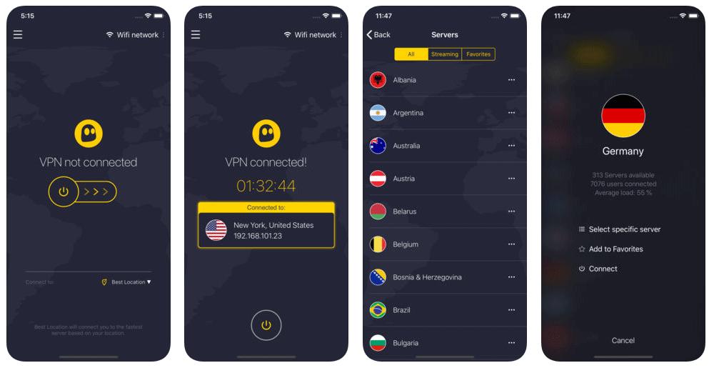 Cyberghost iOS app screenshots