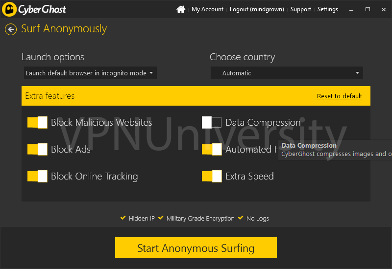 Optional security features like ad-blocking, tracker blocking and speed boost