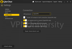 Choose a VPN protocol and enable IP leak protection