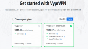 VyprVPN yearly subscription pricing
