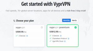 VyprVPN month-to-month subscription pricing
