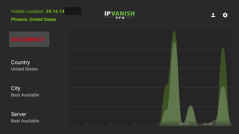IPVanish Firestick VPN app with bandwidth monitor