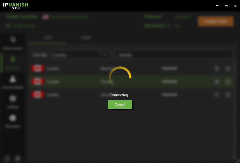 IPVanish VPN in process of connecting