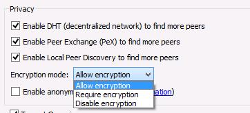 Allow encryption in QBittorrent
