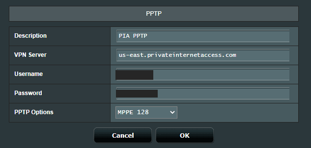 ASUSWRT PPTP Settings