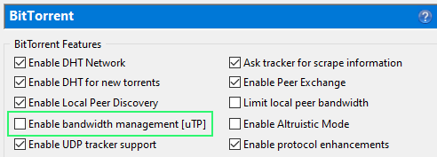 Disable bandwidth management uTP in uTorrent