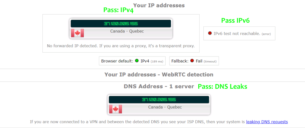Hide.me DNS leak test and IPv6 leaks
