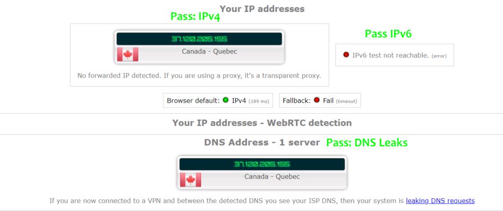 Hide.me DNS leak test and IPv6 leaks