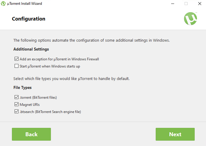 uTorrent configuration during install
