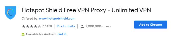 Hotspotshield VPN browser extension for Chrome